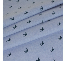 Chambray - Swallows Navy on Light Blue