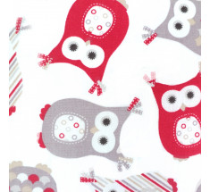 Oliver Owl - Grey & Red on White