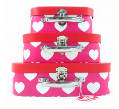 Storage Suitcase - JIP - Red and Cerise Hearts - Set of 3