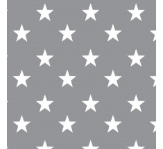 Cotton Classics - Grey - Stars - Large White Star on Grey