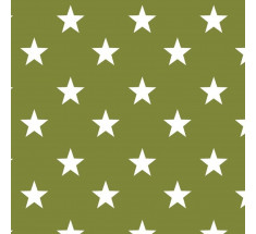 Cotton Classics - Moss Green - Stars - Large White Star on Moss Green