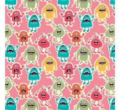 Little Monsters - Monsters on Pink by Makower
