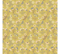 Lewis and Irene - A Little Bird Told Me - Cottage Flowers on Spring Yellow