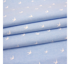 Chambray - White Swallows on Pale Blue