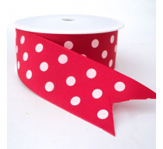 20m Roll  Ribbon - Red Dots Extra Wide 38mm