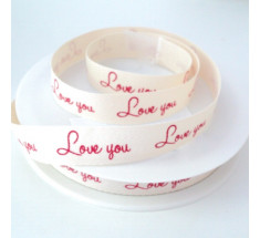 20m Roll  Ribbon - Handwritten Love You - Red on Natural