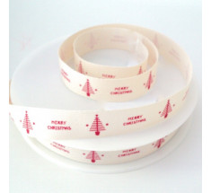 20m Roll Christmas Ribbon - Small Merry Christmas and Tree - Red on Natural