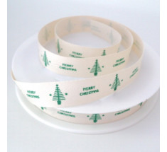 20m Roll Christmas Ribbon - Small Merry Christmas and Tree - Green on Natural