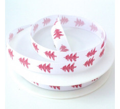 20m Roll Christmas Ribbon - Red Trees on White