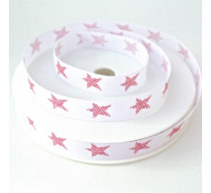 20m Roll Christmas Ribbon - Red Stars on White