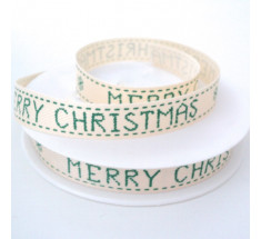 20m Roll Christmas Ribbon - Large Merry Christmas - Green on Natural