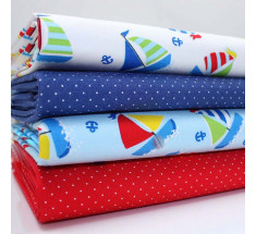 FQ Bundle - Colourful Boats & Micro Dots - Royal & Red x 4