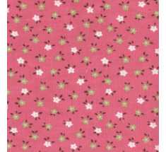 Babycord - Pink with Green and Ivory Flowers LAST HALF METRE