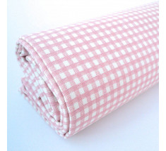 Linen Look Cotton - 2mm Gingham - Pale Pink