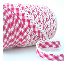 Picot Lace Edge Gingham Bias Binding -  Cerise