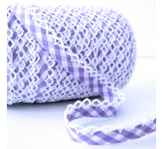 Picot Lace Edge Gingham Bias Binding -  Lilac