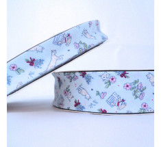 Childrens Print Bias Binding - 18mm - Cats and Dogs - Blue