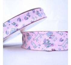 Childrens Print Bias Binding - 18mm - Cats and Dogs - Pink