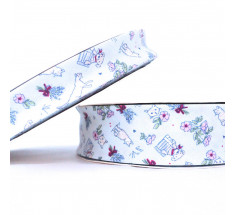 Childrens Print Bias Binding - 18mm - Cats and Dogs - White
