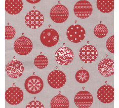 French Christmas Cotton Fabric - Baubles on Pale Taupe
