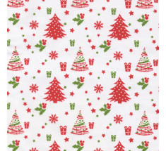 French Christmas Cotton Fabric - Tree & Presents on White