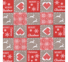 French Christmas Cotton Fabric - Scandi Patchwork Beige Red