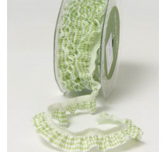 Gathered Elasticated Ginhgam Frill - Green - metre
