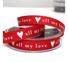 20m Roll Berisfords Christmas Ribbon - 15mm - All My Love - Red