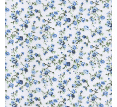 Molly Floral Poly Cotton - White / Blue