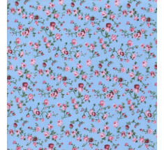 Molly Floral Poly Cotton - Blue / Pink