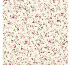 Molly Floral Poly Cotton - Cream / Pink