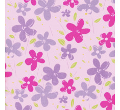 Dancing Daisy Poly Cotton - Pink - metre
