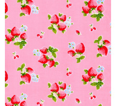 Summer Classic Strawberries Poly Cotton - Pink - metre