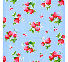 Summer Classic Strawberries Poly Cotton - Blue - metre