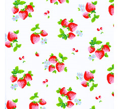 Summer Classic Strawberries Poly Cotton - White - metre