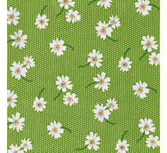 Daisies on Dots Poly Cotton - Green