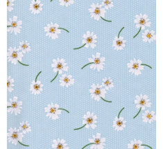Daisies on Dots Poly Cotton - Pale Blue