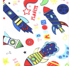 Colourful Rockets Poly Cotton on White