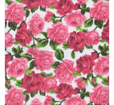 Rose Garden Poly cotton - Pink on White