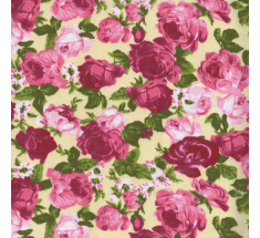 Rose Garden Poly cotton - Pink on Cream