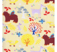 Bear and Friends Poly Cotton on Yellow