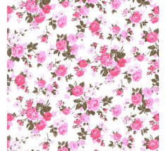 Annie Rose Poly Cotton - Pink White