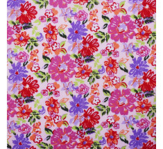 In The Pink Floral Poly Cotton - Pink - metre