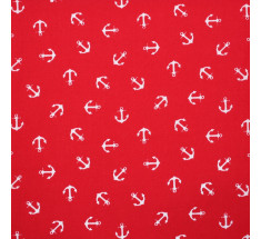 Anchors Poly Cotton - White Anchors on Red - metre