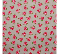 Mink and Pink Collection - Roses on Beige LAST METRE