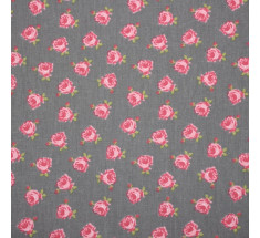 Mink and Pink Collection - Roses on Grey