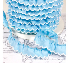 Gathered Scalloped Contrast Edge Trim - Baby Blue 3138