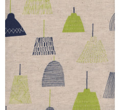 Sevenberry - Linen and Cotton Lampshade Print - Natural / Navy / Lime