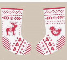 Lewis and Irene - When I Met Santa's Reindeer Stocking Panel Ivory / Red