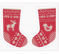 Lewis and Irene - When I Met Santa's Reindeer Stocking Panel Red / Natural